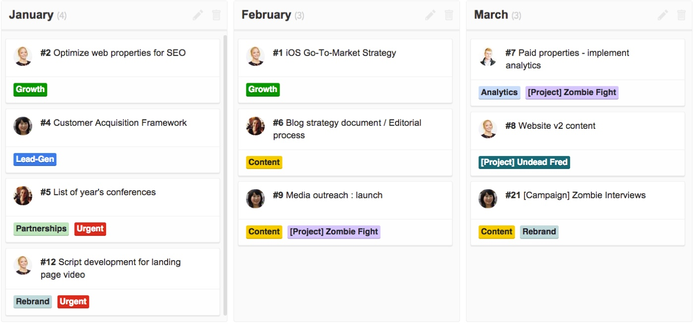 a monthly pipeline for three months in ZenHub