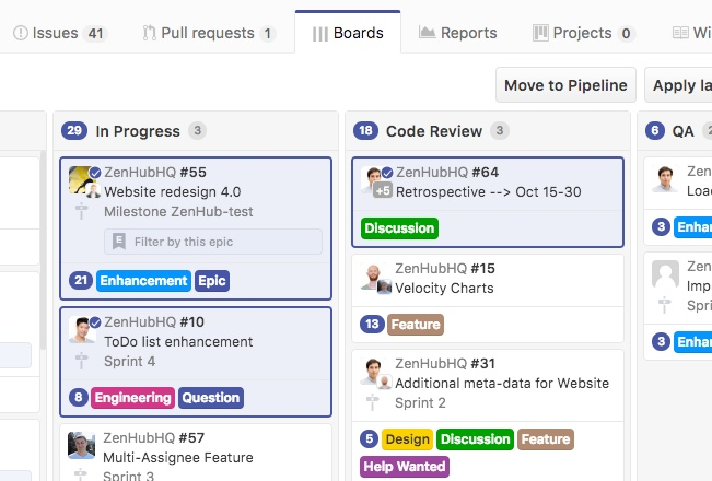 multi-action options on a Kanban board's cards