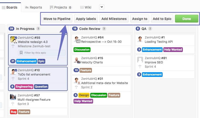 bulk action options at the top a the task board in ZenHub