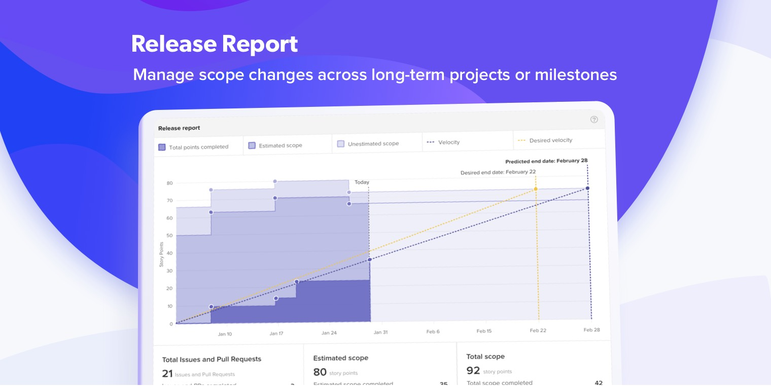 manage scope changes across long-term projects or milestones with release reports
