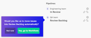 ZenHub prompt asking if the user wants to move issues into a review backlog automatically