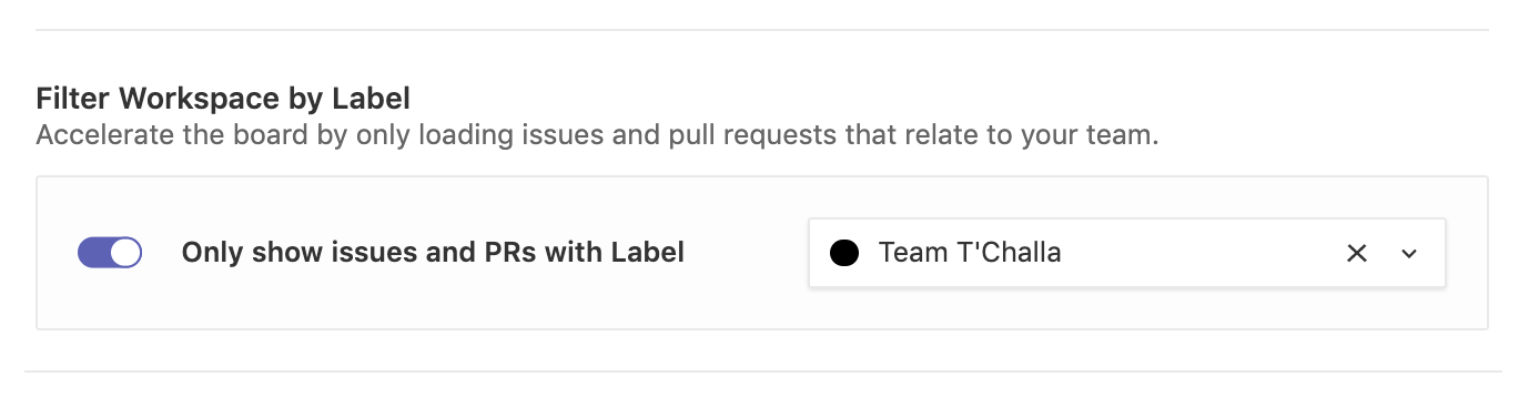 opting to only show issues and pull requests with a label on a workspace