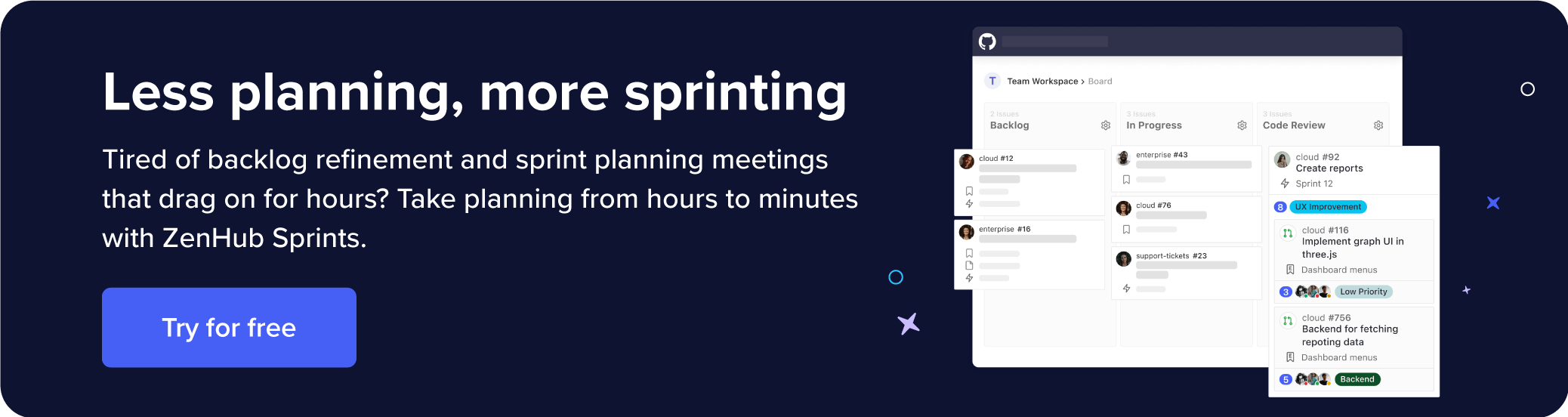 Goes over how to take sprint planning from hours to minutes with ZenHub Sprints.
