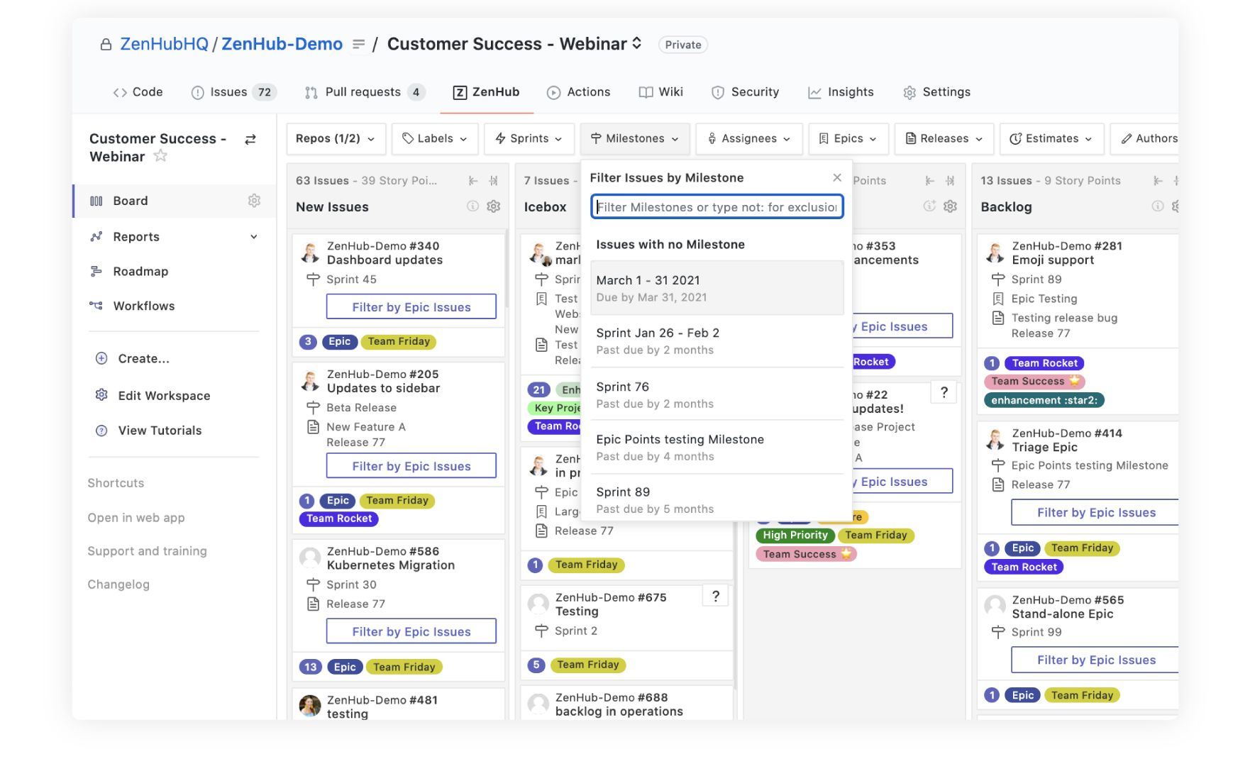 filtering issues by milestone on a customer success Kanban board