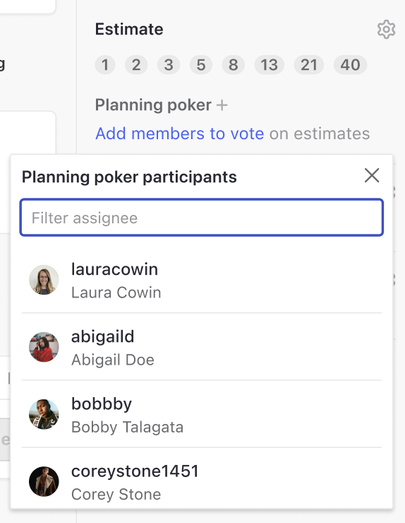 planning poker feature displaying sprint planning participants
