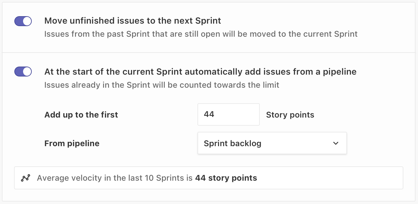 setting up an automated sprint in ZenHub's interface