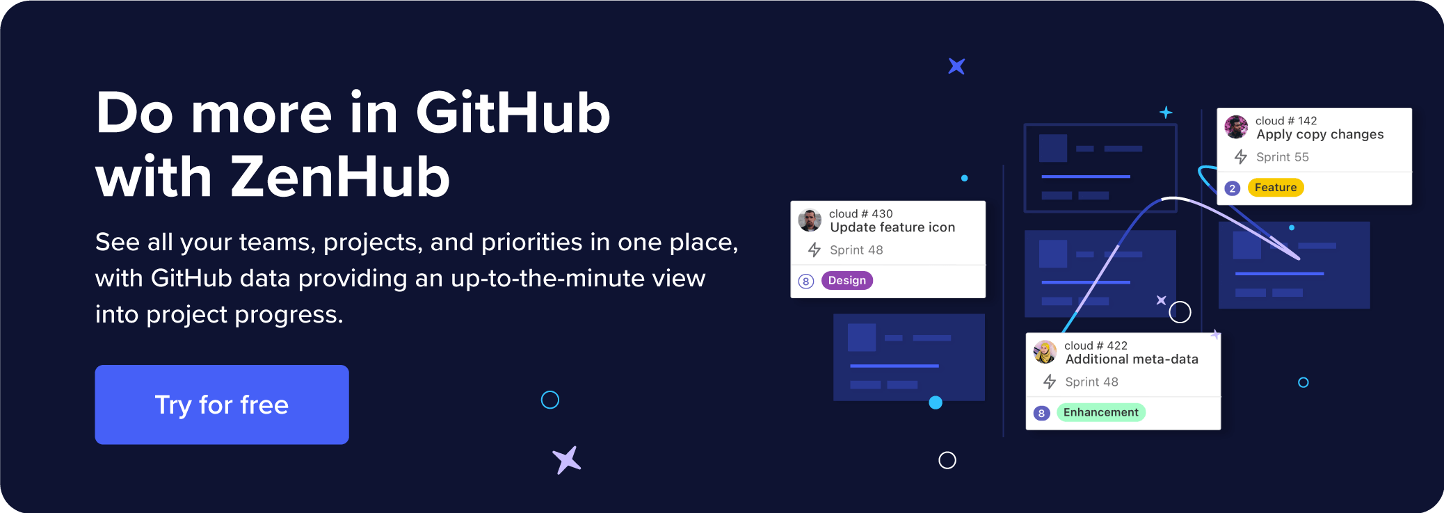 Describes how to use ZenHub with your GitHub data to see all your teams, projects, and priorities in one place.