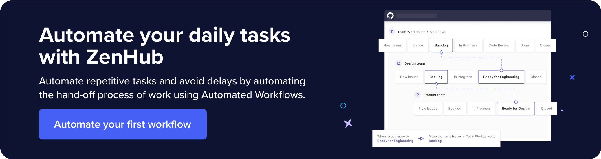 Recommends automating repetitive tasks and avoiding delays in the hand-off process of work through ZenHub.