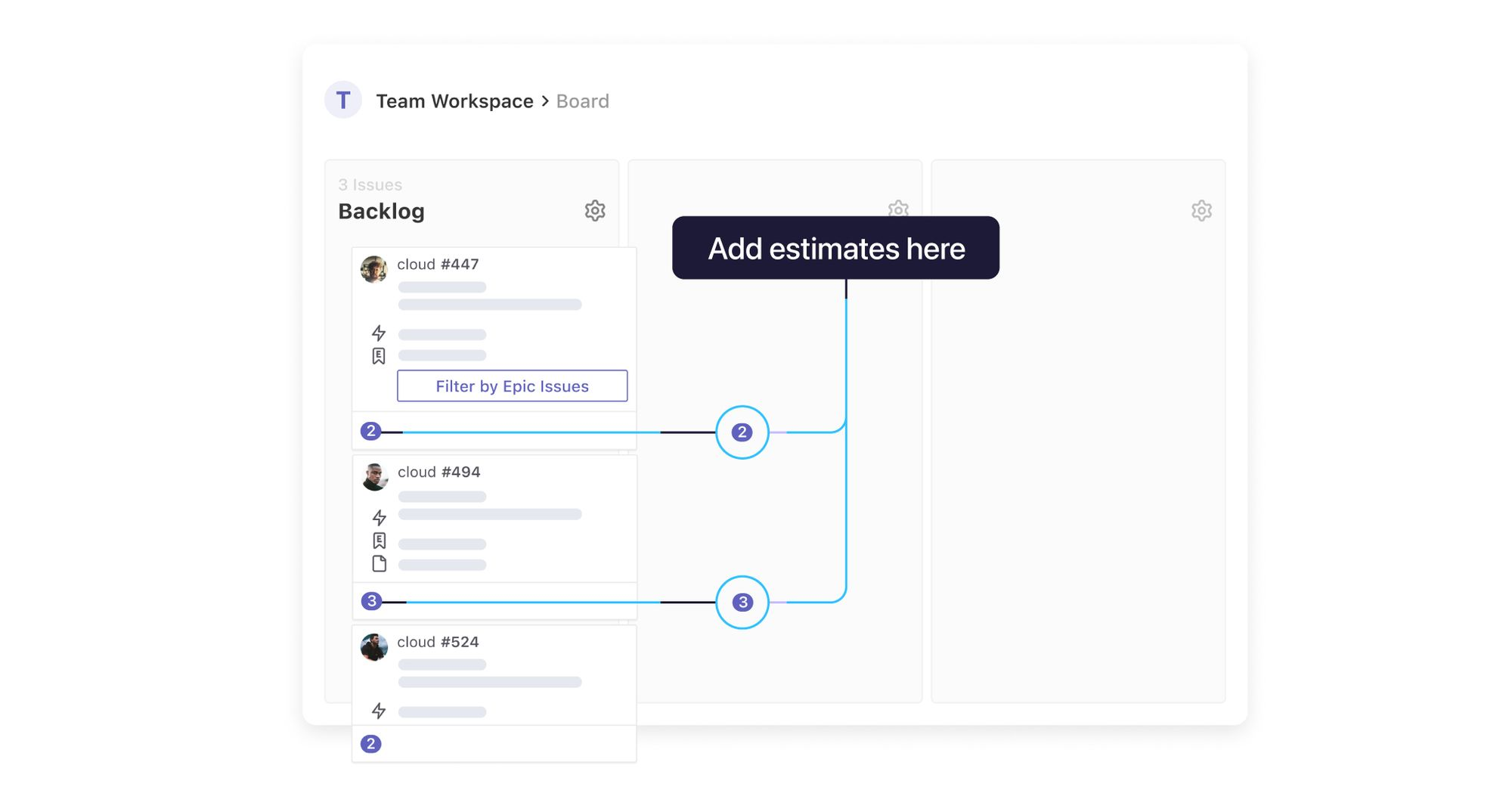 representation of where estimates can be added within a backlog in ZenHub