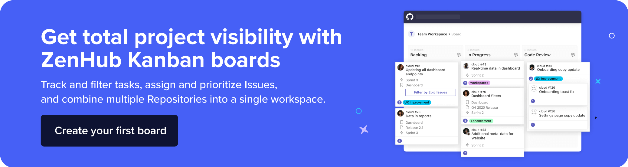 Suggests tracking and filtering tasks, prioritizing Issues, and combining multiple Repositories into a single workspace.