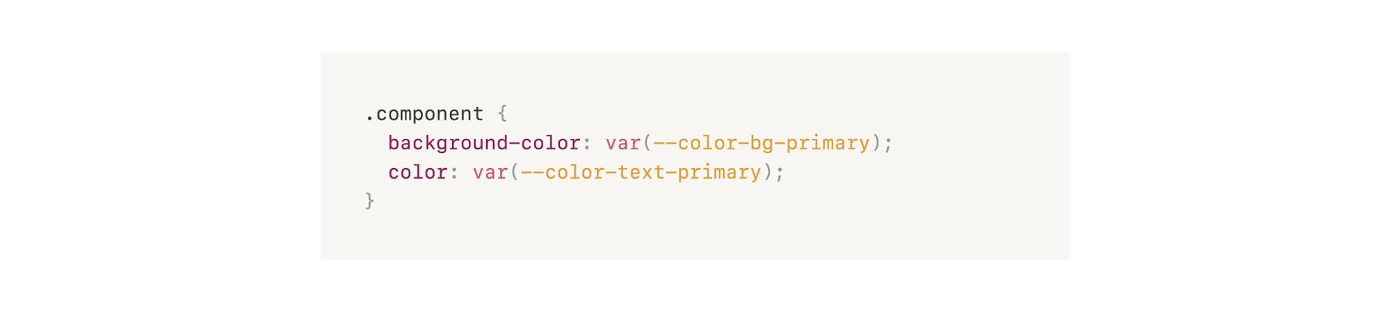 Image of code applying the colors to components