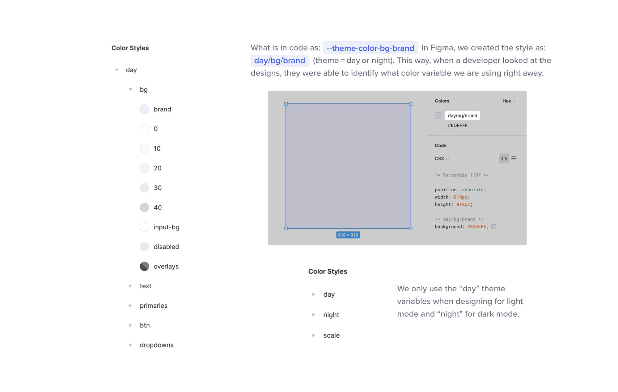 Image showing how the colors and theme variables were transferred to Figma
